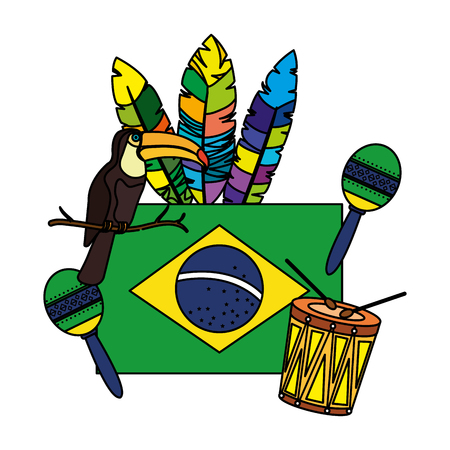 brazilian flag with culture icons vector illustration design