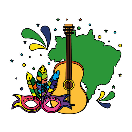brazilian map with guitar and mask vector illustration design  イラスト・ベクター素材