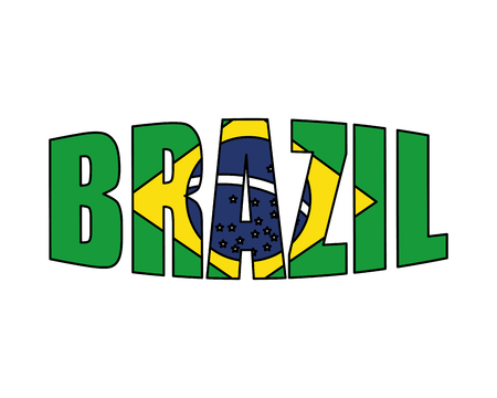 brazilian label with flag vector illustration design