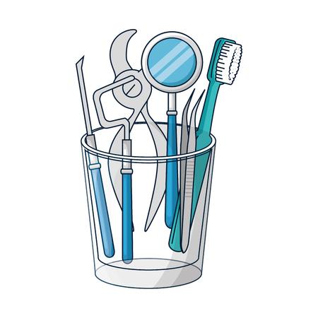 dentist tools in glass equipment vector illustration design