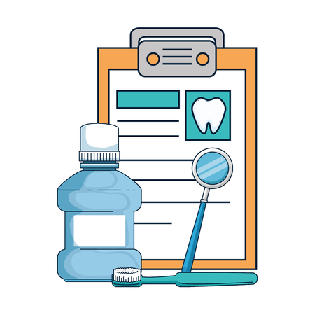 dental hygiene equipment and clipboard vector illustration design
