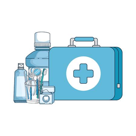 dental hygiene equipment icons vector illustration design