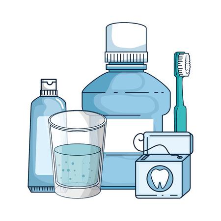 dental hygiene equipment icons vector illustration design Stock Vector - 116142369