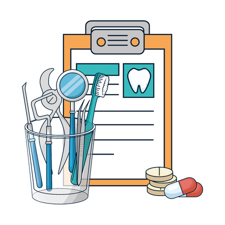 dentist tools in glass and clipboard vector illustration design