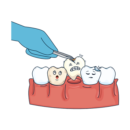 dentist extracting tooth with pliers vector illustration design