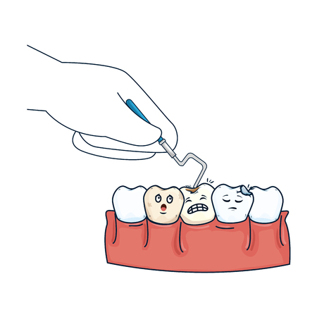 human teeth with dentist hand and drill vector illustration design
