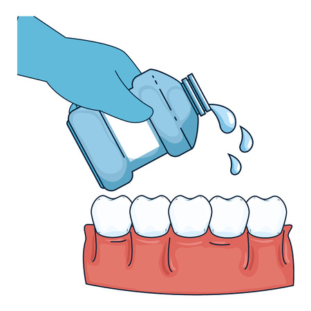 hand with mouth wash bottle vector illustration design Illustration