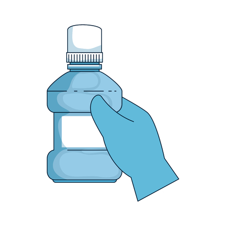 hand with mouth wash bottle vector illustration design Ilustracja