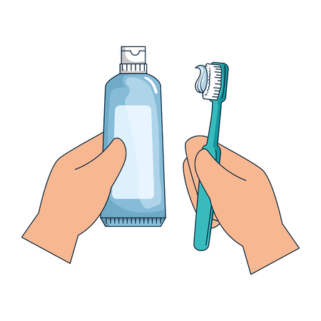 hand with tooth brush vector illustration design