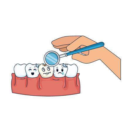 comic teeth with dentist hand using mirror vector illustration design