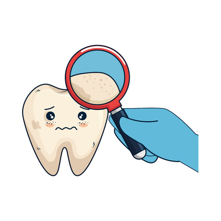 comic tooth with dentist and magnifying glass vector illustration design Illustration