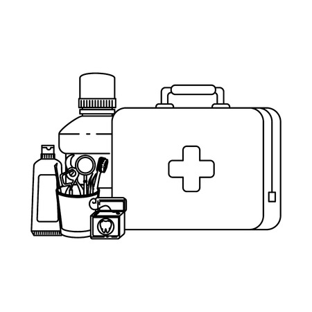 dentist tools in glass and medical kit vector illustration design