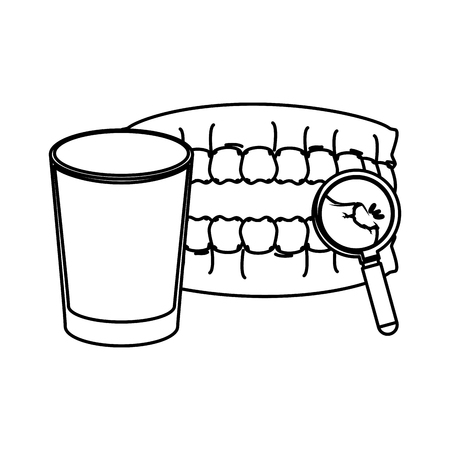 human teeth with water glass and magnifying glass vector illustration Illustration