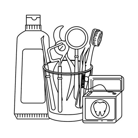 dentist tools in glass vector illustration design Ilustração