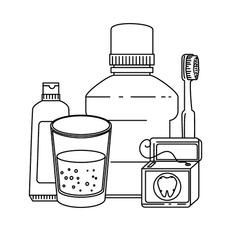 dental hygiene equipment icons vector illustration design