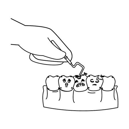human teeth with dentist hand and drill vector illustration design Foto de archivo - 116143469