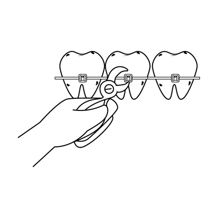 human teeth with hand orthodontist and pliers vector illustration design Ilustracja
