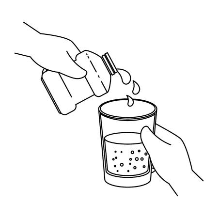 hand with mouth wash bottle vector illustration design Ilustração