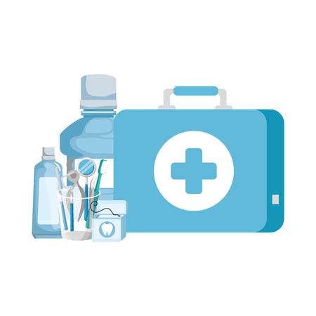 dentist tools in glass and medical kit vector illustration design