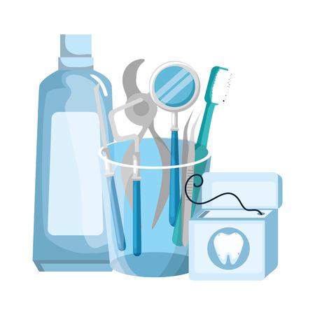 dentist tools in glass vector illustration design Illustration