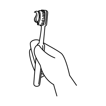 hand with tooth brush vector illustration design Foto de archivo - 125792349
