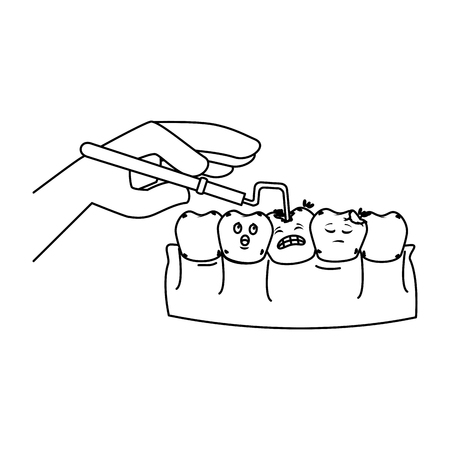 human teeth with dentist hand and drill vector illustration design Foto de archivo - 116143479