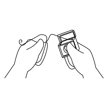 hands using dental floss vector illustration design
