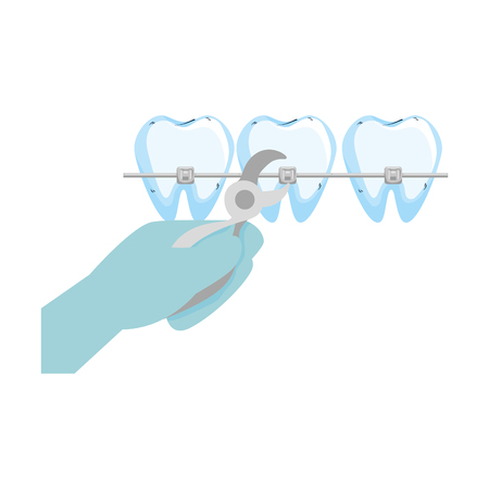 human teeth with hand orthodontist and pliers vector illustration design Illustration