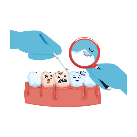 human teeth with magnifying glass vector illustration design