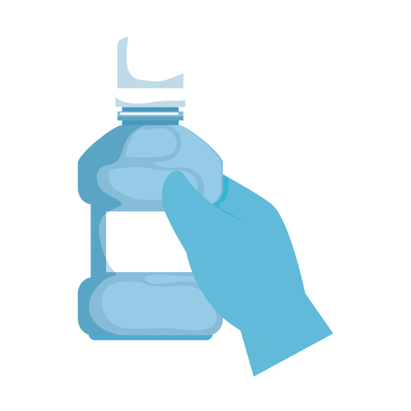 hand with mouth wash bottle vector illustration design Illustration