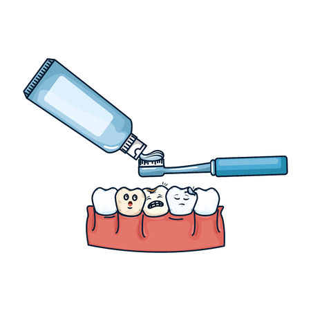 human teeth with toothbrush and paste vector illustration design