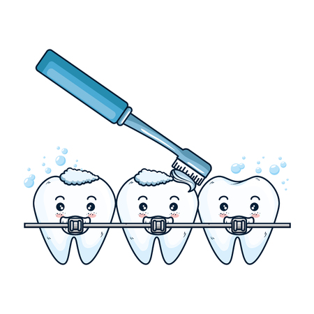 comic teeth with brush and orthodontics characters vector illustration
