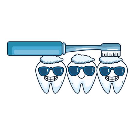 comic teeth with brush kawaii characters vector illustration design Stock Vector - 125792421
