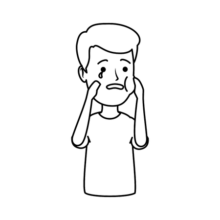 young man with toothache vector illustration design