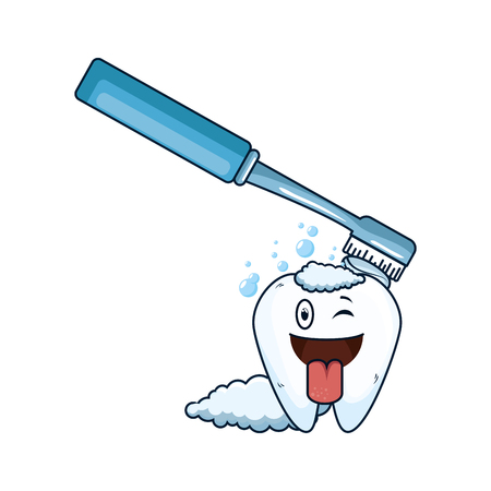 comic tooth with brush kawaii character vector illustration design Illustration