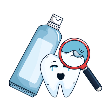 comic tooth with toothpaste and magnifying glass vector illustration