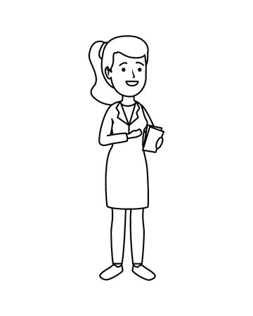 female doctor with order medical vector illustration design