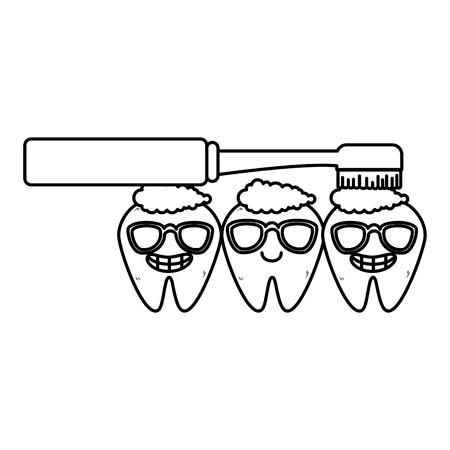comic teeth with brush kawaii characters vector illustration design