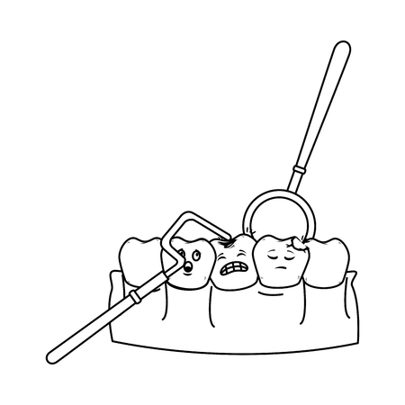 human teeth with dentist tools vector illustration design