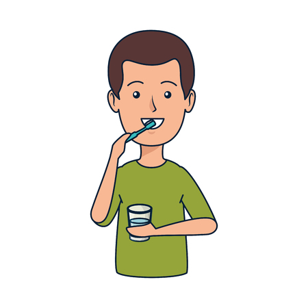 young man brushing teeth vector illustration design