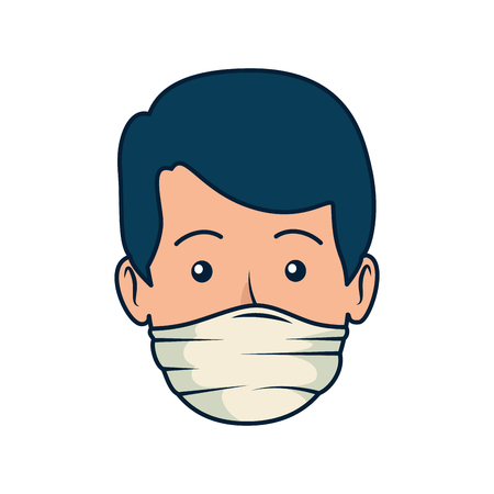 young dentist mouth cover avatar character vector illustration design