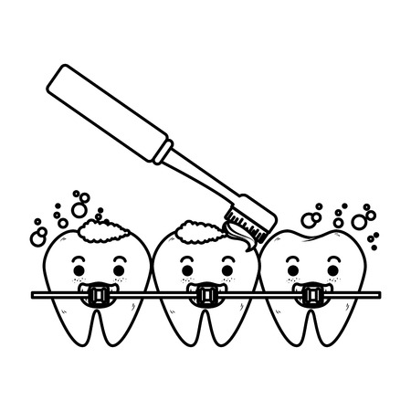 comic teeth with brush and orthodontics characters vector illustration Stock Vector - 125792470