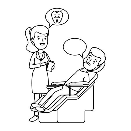 woman dentist with patient in procedure vector illustration design
