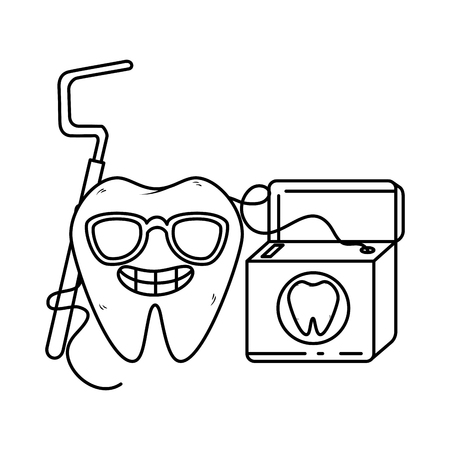 comic tooth with dental floss kawaii character vector illustration design