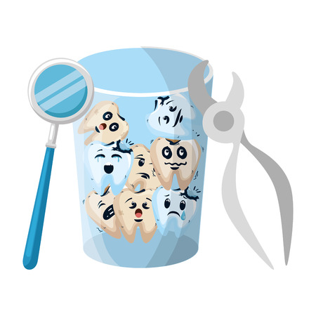 comic teeth in glass with pliers and mirror vector illustration design