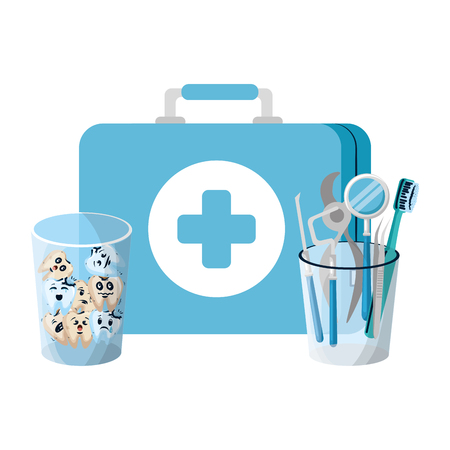 teeth in glass with medical kit and dentist tools vector illustration design