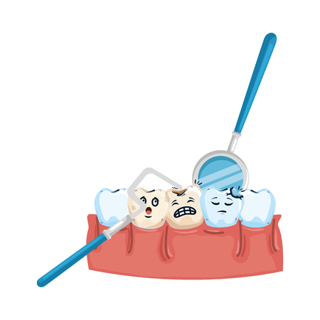 human teeth with dentist tools vector illustration design