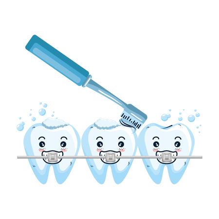 comic teeth with brush kawaii characters vector illustration design Stock Vector - 125736512