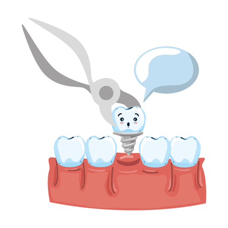 human teeth with pliers extracting implant vector illustration design