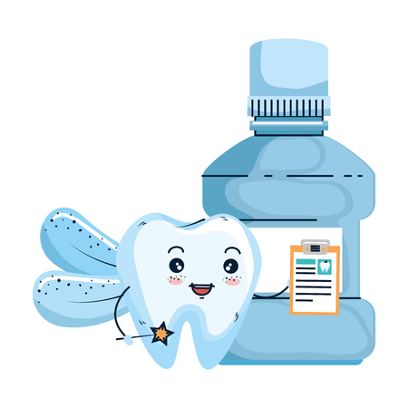 comic tooth with mouthwash kawaii character vector illustration design Stockfoto - 125736521